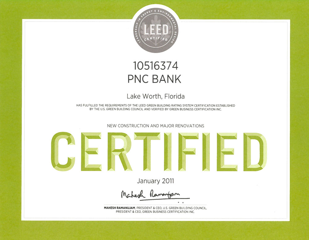 LEED certification PNC bank Lake Worth